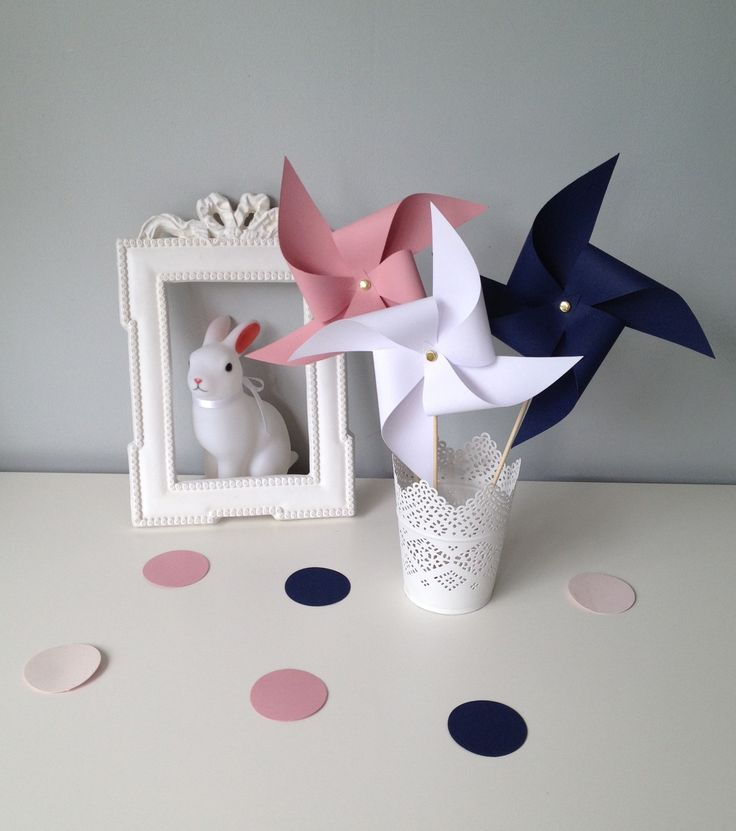 Lot 12 moulins à vent pour la décoration des tables de fêtes ou pour votre intérieur rose poudrée et bleu marine
