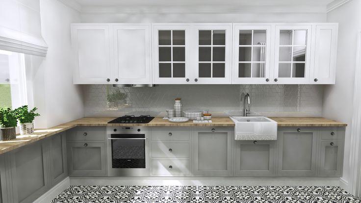 white and gray classic kitchen, Gdansk, Poland