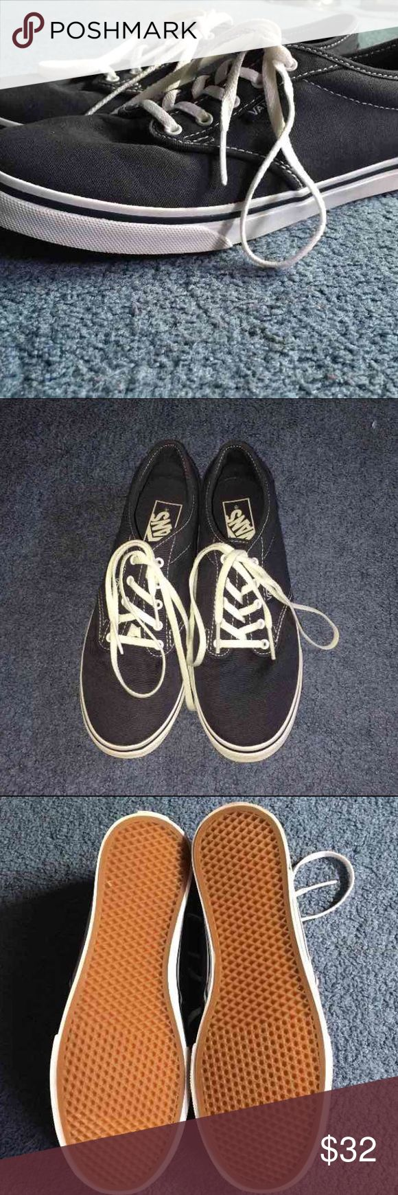 Navy Blue VANS Canvas Sneakers Women's 7.5 Navy Vans Canvas Sneakers, Women's size 7.5. Worn once, the condition is excellent! Little to no wear shown on white siding and bottoms of shoes. Small minor debris on bottom rubber soles, otherwise spotless. No stains on the white laces. Vans Shoes Sneakers