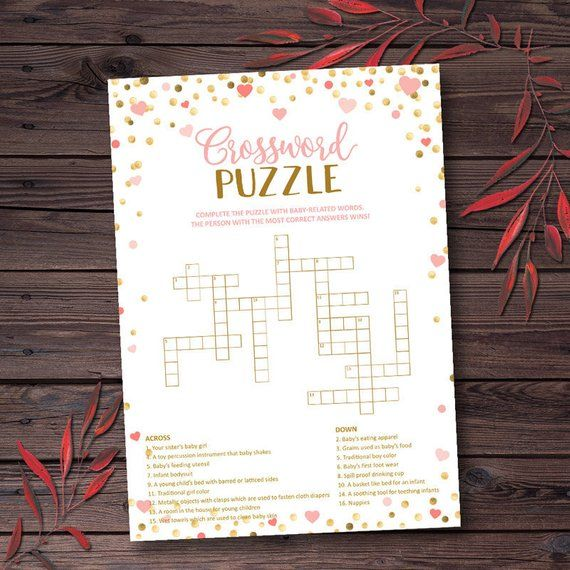 Baby Shower Crossword Puzzle Game Pink And Gold Printable Instant