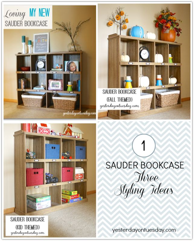 Styling a Sauder Bookcase | Yesterday On Tuesday  #MyDreamShelfSweeps