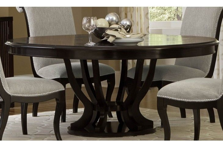 Savion Espresso Round Pedestal Extendable Dining Table From