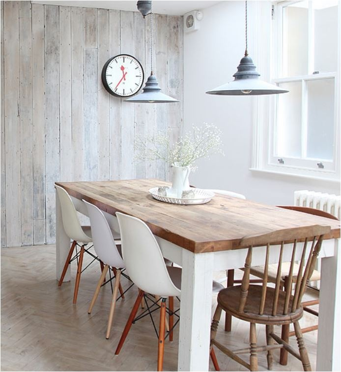 plank wall + herringbone floor + mixed seating