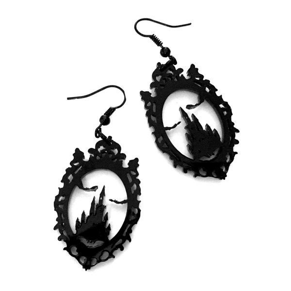 Dracula's Castle Gothic Earrings by Curiology ($15) ❤ liked on Polyvore featuring jewelry, earrings, acrylic earrings, gothic earrings, lucite earrings, goth earrings and hook jewelry