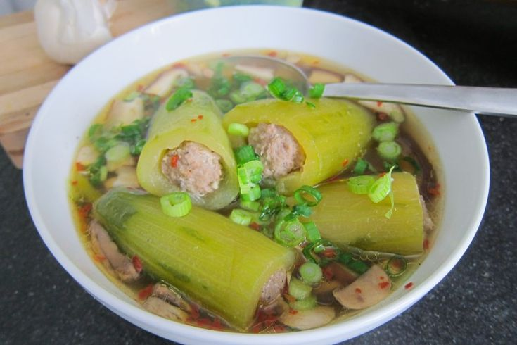 Pepper's (Chrissy Teigen's mama) Pork Stuffed Cucumber Soup
