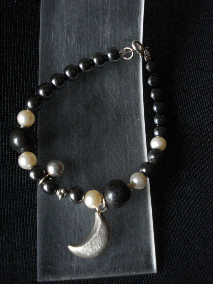 handmade bracelet of silver 925,pearls and onyx