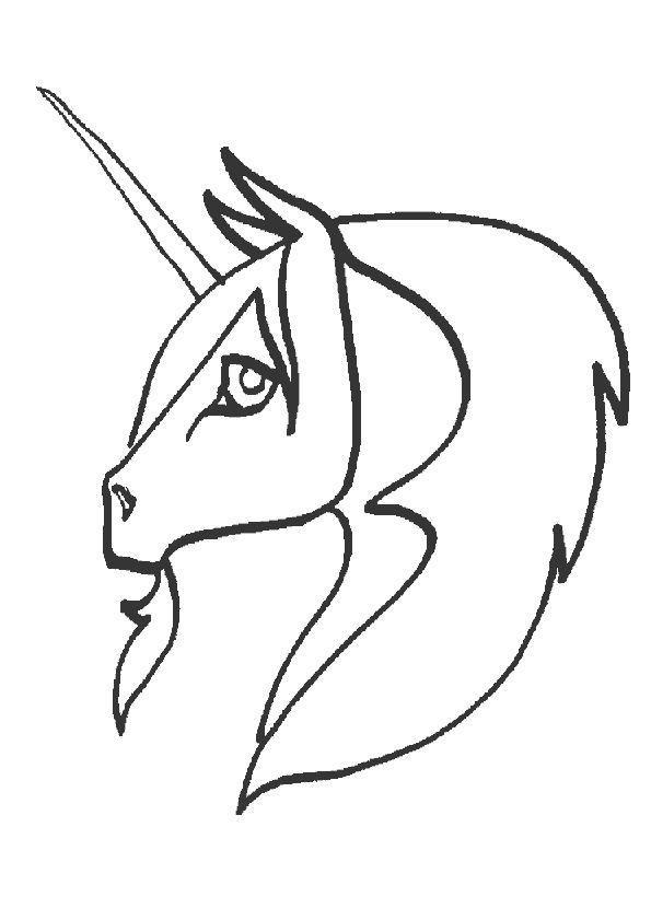 A colorier, une tête de licorne vue de profil