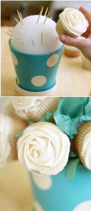 """I'm picturing pink and blue """"bouquets"""" for a Gender Reveal party! How to make a cupcake bouquet (52 Kitchen Adventures)."""