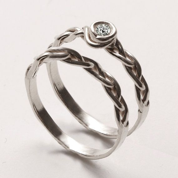WEDDING RING SET -Delicate Braided Engagement ring with matching Wedding Band. This set in sterling silver, stackable rings