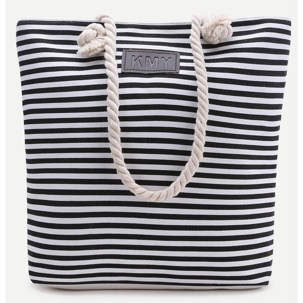 Black Striped Print Tote Bag (€17) ❤ liked on Polyvore featuring bags, handbags, tote bags, black and white, black white striped purse, stripe tote, striped tote, black and white striped handbag and tote purses