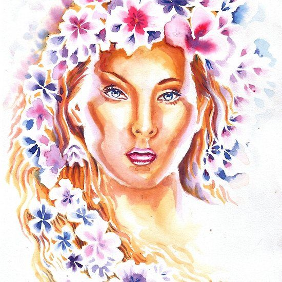 Portrait with flowers , watercolor spring painting