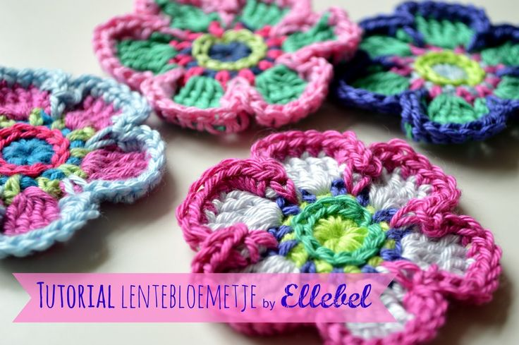Zoals beloofd hier de beschrijving van dit gehaakte bloemetje:   Here you see the photo tutorial of this crochet flower, as promised.   For...