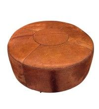 Large Round Cowhide Ottoman $2300