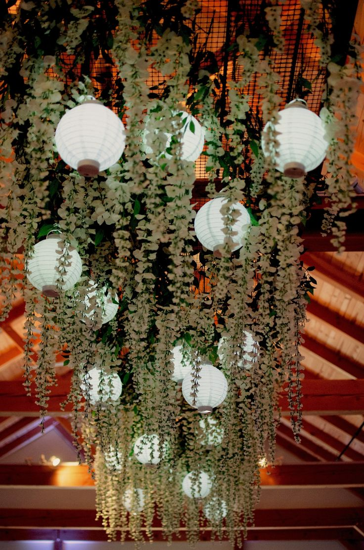Bonafidebride diy project sweet whimsical paper lanterns - Romantic Rustic Dance Floor Decor Hanging Wisteria Flowers With Battery Operated Lanterns Reception Decoration