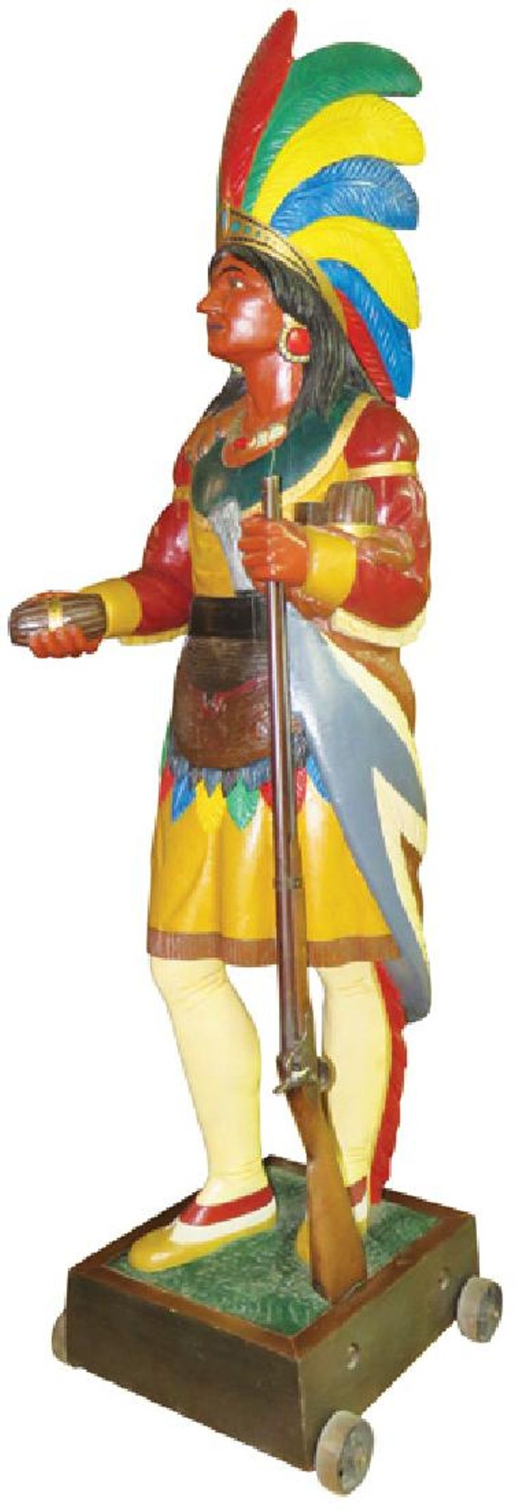 VIntage Wood Cigar Store Indian with rifle