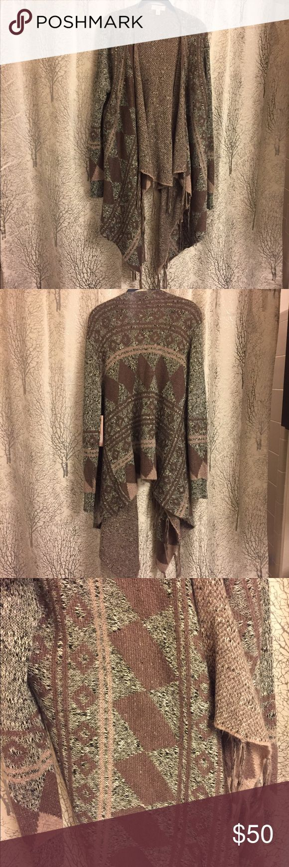 Brown Tribal Cardigan Colors best seen in last picture! Never worn. No trades Macy's Sweaters Cardigans