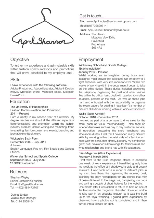 cv junior fashion designer