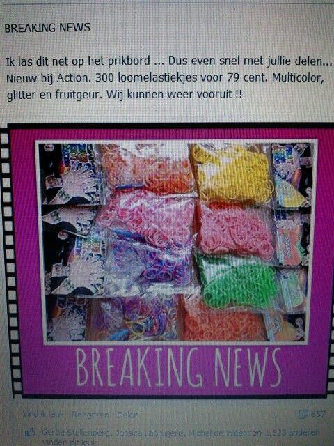 Loombandjes van de action, glitter, geur en meerkleurige 79 cent per zakje incl. Haaknaald en haakjes