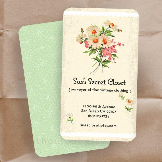 Business Cards - VIntage Floral Fabric - Shop Cards - 100 Custom Cards.