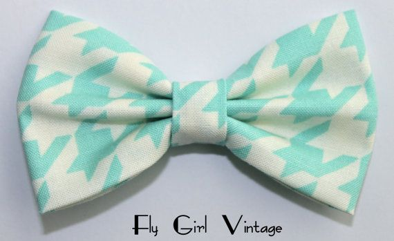 Vintage 1940s Style Hair Bow Clip- Aqua- Blue-Mint-Green-Jadite- Fabric Hair Bow-Rockabilly-Pin Up- Mod- For Women, Teens, Girls-Houndstooth