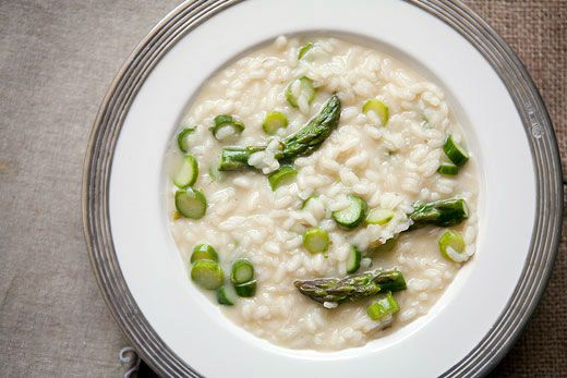 Classic asparagus risotto made with arborio rice, shallots, stock, fresh asparagus, and Parmesan cheese.