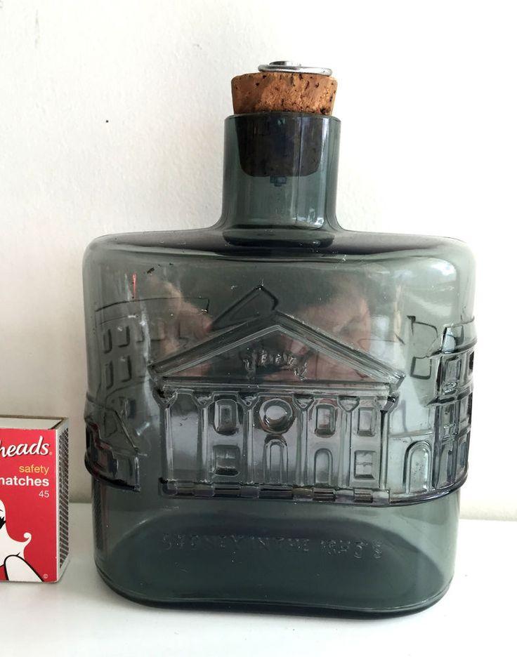 smokey grey NUUTAJARVI NOTSJO FINLAND ART GLASS BOTTLE SYDNEY in the 1840s