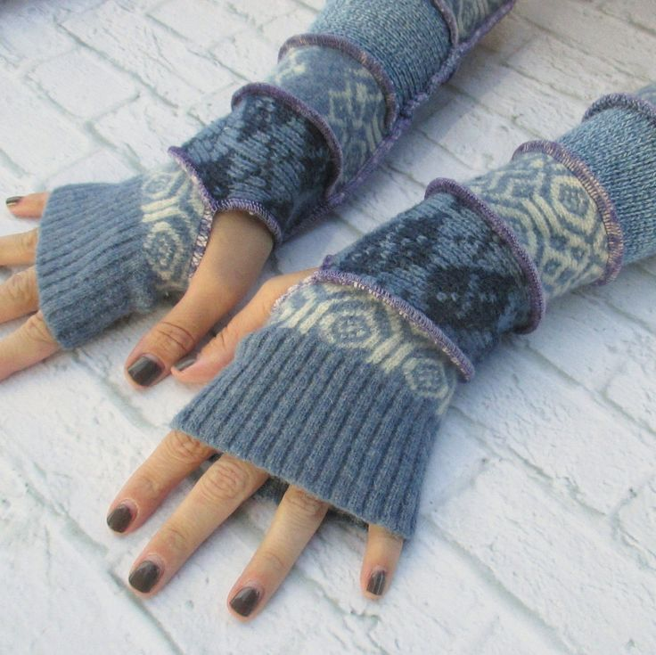 Long Recycled Sweater Arm Warmers - Long Fingerless Gloves - Thankful Rose - Upcycled Sweaters - Upcycled Clothing - Wrist Warmers by ThankfulRose on Etsy