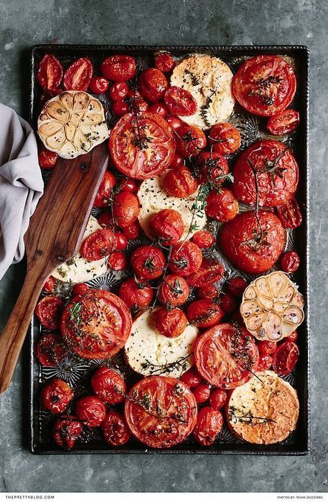 Free baked tomato, feta, garlic & thyme recipe | Photograph by Tasha Seccombe | Recipe by The Food Fox | https://www.theprettyblog.com/food/baked-tomato-with-feta-garlic-thyme/: