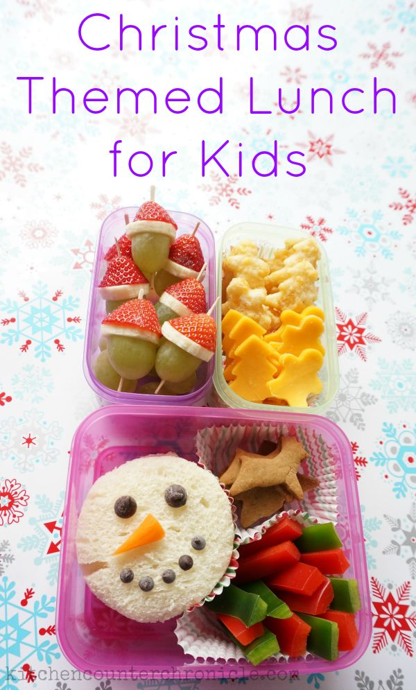 How fun is this Christmas themed lunch for kids?! With a few simple ingredients, great reusable containers and a little imagination you can create a fabulous, festive lunch for kids. Christmas recipe. #sponsored