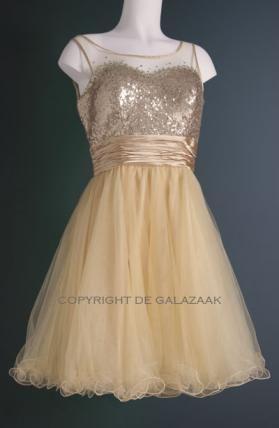 Feestelijke cocktailjurk in het goud met pailletten. De wijduitstaande rok is feestelijk en leuk voor op de dansvloer! Prijs 125,- www.degalazaak.nl