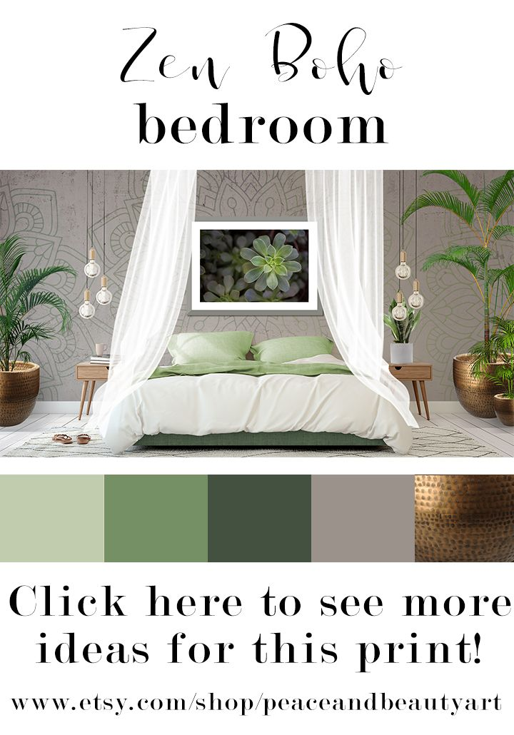 . Nature Bedroom Art  Succulent Print  Green Leaf Art Print  Modern