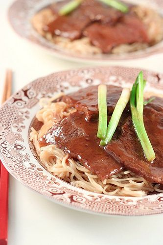 Ginger scallion beef with noodles | International Flavors | Pinterest