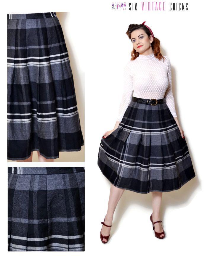 plaid Skirt vintage high waisted women clothing midi pleated skirt 80s clothing grey skirt boho chic wool skirt Retro bohemian tartan XL by SixVintageChicks on Etsy