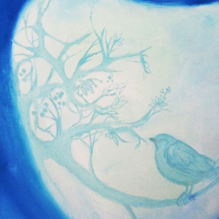 inspired by portuguese Azulejo tiles a blue bird etched onto painted canvas #art #painting #illustration #azulejos