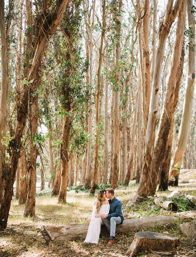 Loving this shot in the forest for a boho engagement idea.