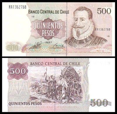 Chile 500 Pesos Valdivia 1997 P 153e Unc