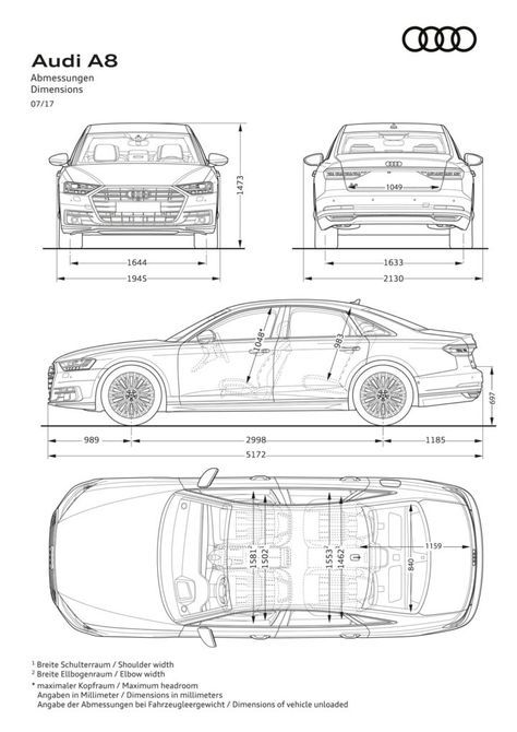 Audi A8 Dimensions Blueprint Audi A8 Audi Allroad Audi A1