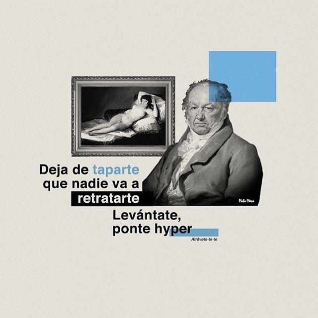 Goya y su 'Maja desnuda' feat Calle 13.  #illustration #ilustracion #design #reggaeton #calle13 #goya #lyrics #music #musica #song #atrevete #tumblr #malamusa #follow #blue #portrait #spain