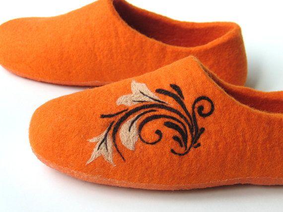 Shoes online-Warm gift-Woolen orange Slippers for by FeltingLT
