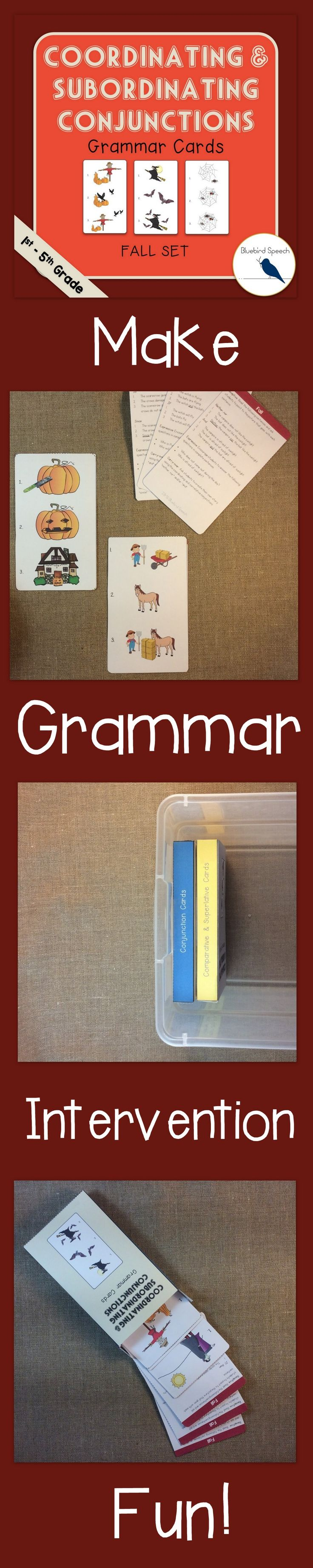Are you working on grammar goals with 1st - 5th graders? These grammar cards make it FUN and EASY to target conjunctions and compound sentences when stating cause and effect or reasoning. Conjunction examples: Coordinating - ✔ And ✔ So ✔ For - Subordinating - ✔ After ✔ Because - Correlative - ✔ Neither, nor - ✔ If, then