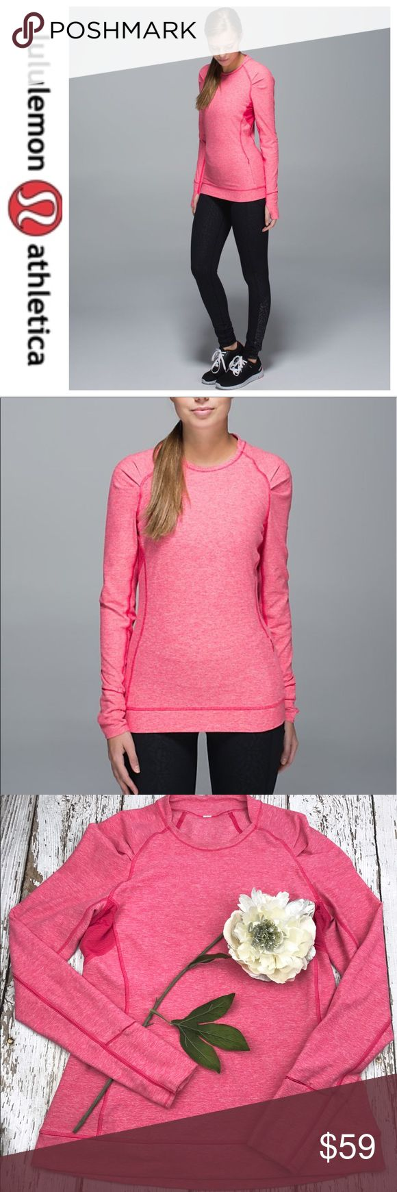 SALELululemon Pink Think Fast Long Sleeved Top Fabulous Lululemon Think Fast Heathered Boom Juice Long Sleeved Top Like New Super Soft lululemon athletica Tops