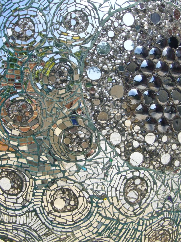 close up of a mosaic glass wall