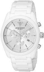 Emporio Armani Men's AR1493 Ceramica Analog Display Analog Quartz White Watch