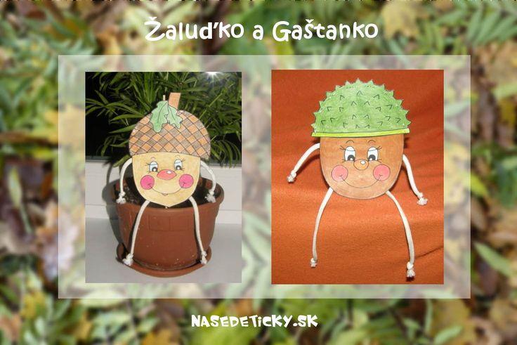 Vyrobte si jesenné ozdoby do kvetináča - Gaštanka a Žaluďka. Nenechajte si ujsť aj ďalšie jesenné dekorácie pre deti.