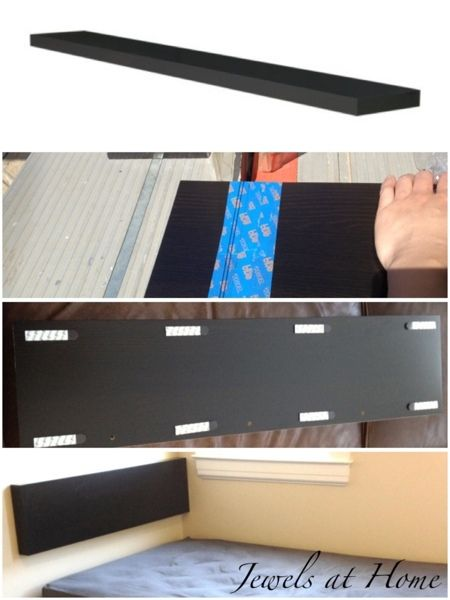 Ikea hack: LACK wall shelf hung as a headboard for a compact bed.  {Jewels at Home}