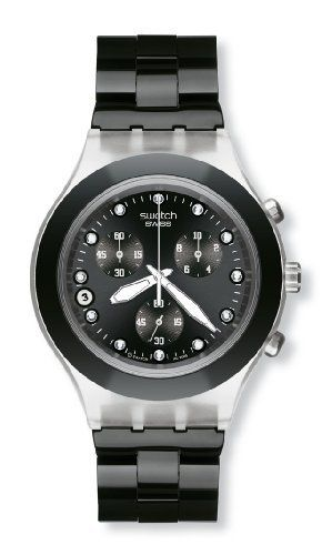 Swatch Men's SVCK4035G Stainless Steel Analog Watch with Black Dial Watch Swatch. $124.50. Water-resistant to 30 M (99 feet). Quartz movement. Chronograph watch, plastic case. Case diameter: 43 mm. Scratch resistant mineral. Save 22% Off!