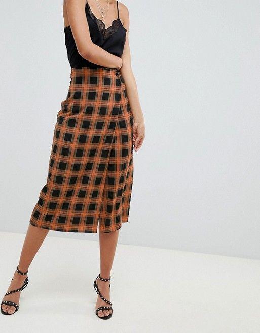 f49cddf3a0 Fashion Union Tall Midi Pencil Skirt In Check   WorkWear   Fashion ...