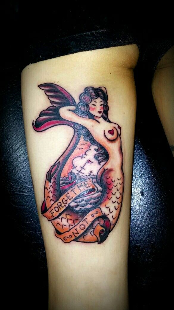 #tatuaje sirena de saylor jerry.#Tatuaje tradicional old school Tatuadora :Griselda Aranda