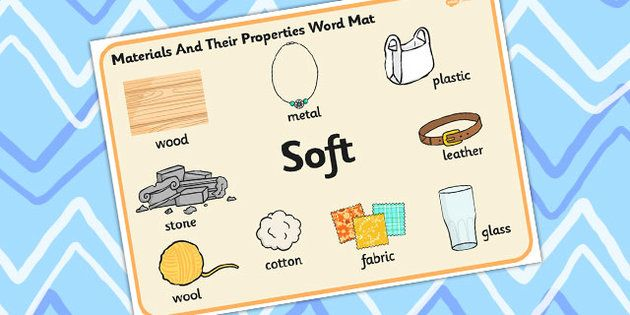 Materials And Their Properties Soft Materials Word Mat
