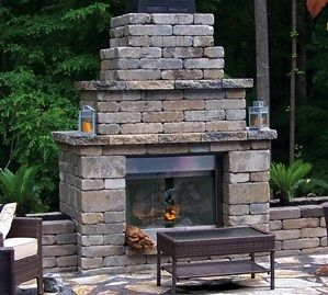 Tumbled Belgard Celtik Wall Freestanding Block And Cap Outdoor Fireplace With A Mortar Set Irregular Tennessee
